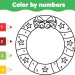 Colour by Numbers Christmas Wreath Printable