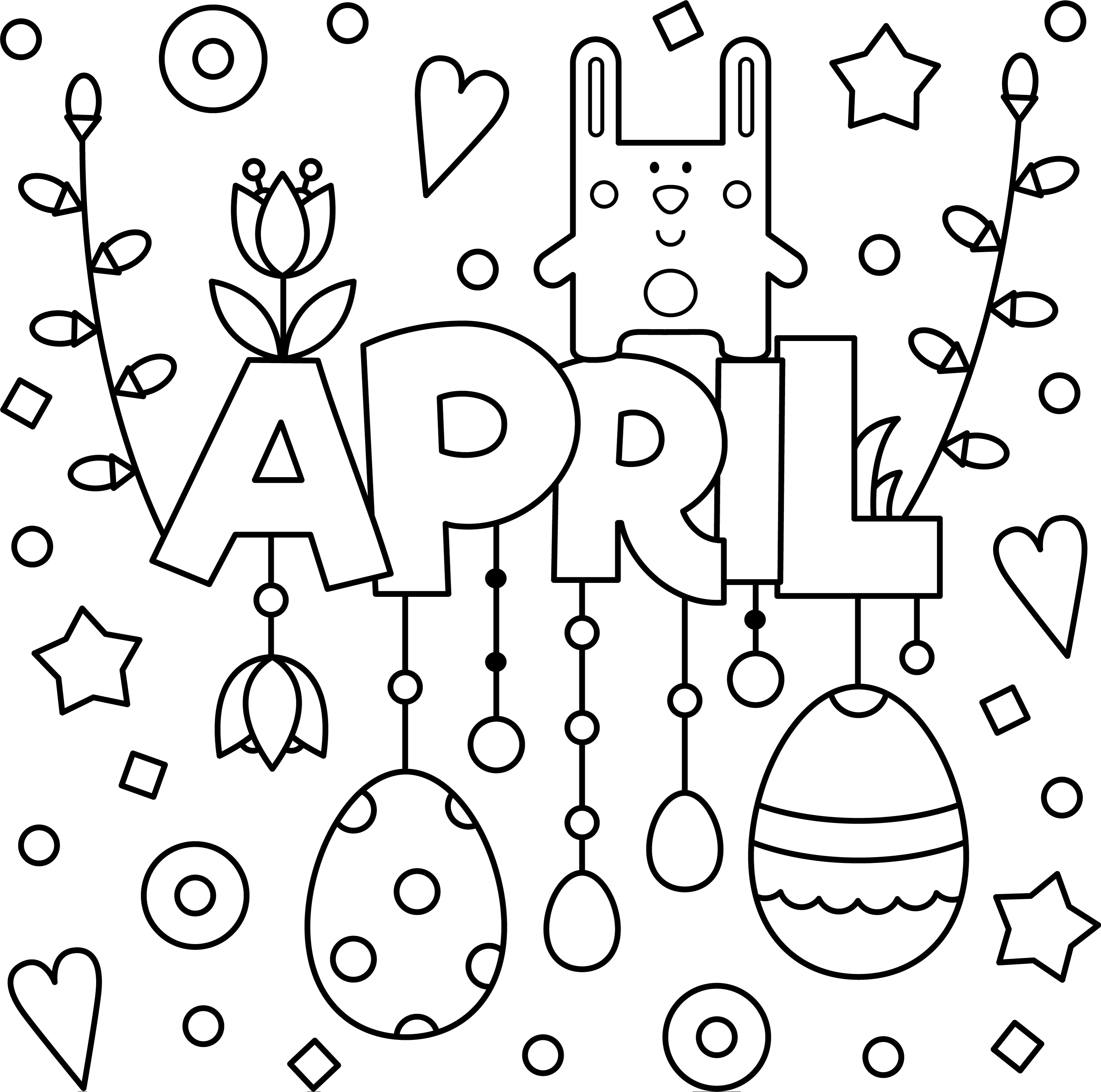 Welcome April Colouring Page Printable — Thrifty Mommas Tips