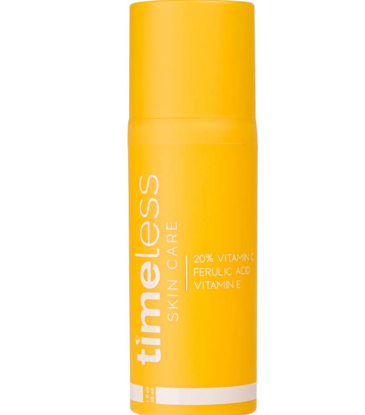 orange bottle of timeless skin care anti-aging serum