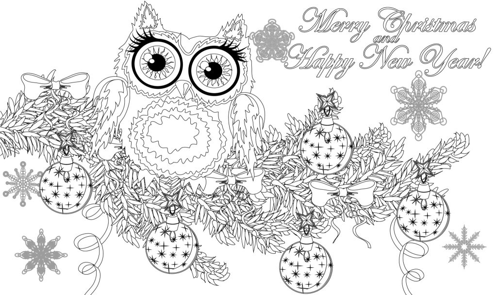 Cute Christmas Owl Colouring Page - Thrifty Mommas Tips