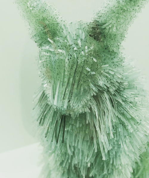 corning museum of glass new glass installation of a lynx made of glass