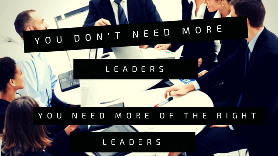 You don't need more leaders, you need more of the right leaders.