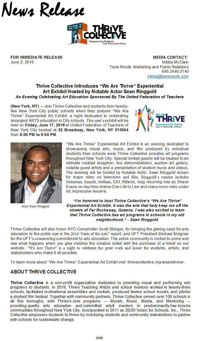 Thrive Collective Press Release