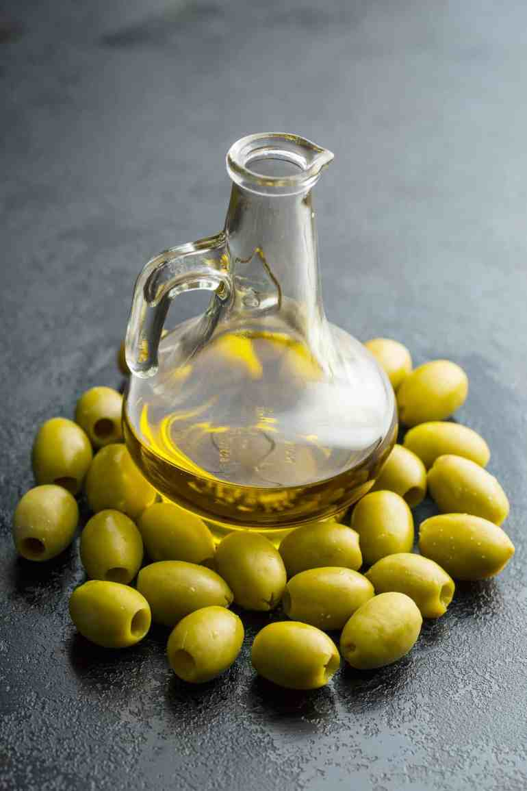 Olive oil and olives.