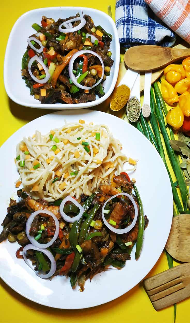 Beef And Shrimp Stir-fry With Spaghetti