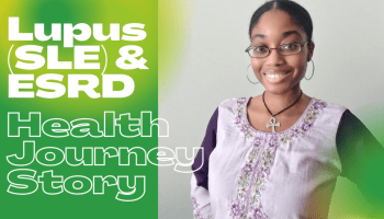 """Photo of Netert Aset on the right with caption on the left with a green and yellow background: """"Lupus (SLE) & ESRD Health Journey Story"""
