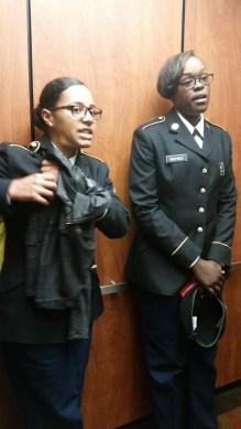 kayla and waynes in elevator