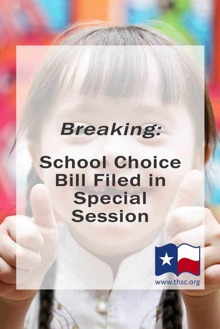 Breaking: School Choice Bill Filed in Special Session