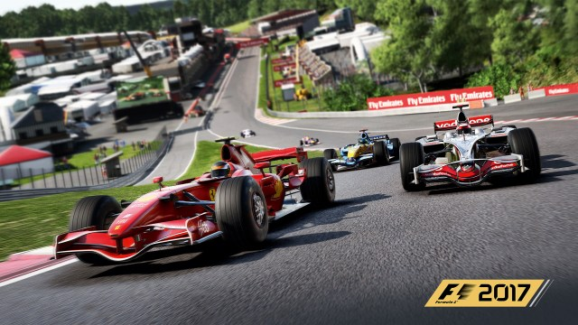 F1 2017 - Racing up Eau Rouge in classic cars