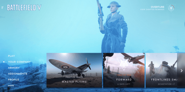 Battlefield V Main Menu
