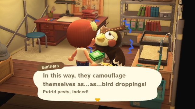 Animal Crossing: New Horizons. Blathers describes a native creature.