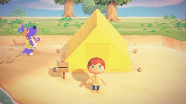 Animal Crossing: New Horizons. The villager stands outside his tent.