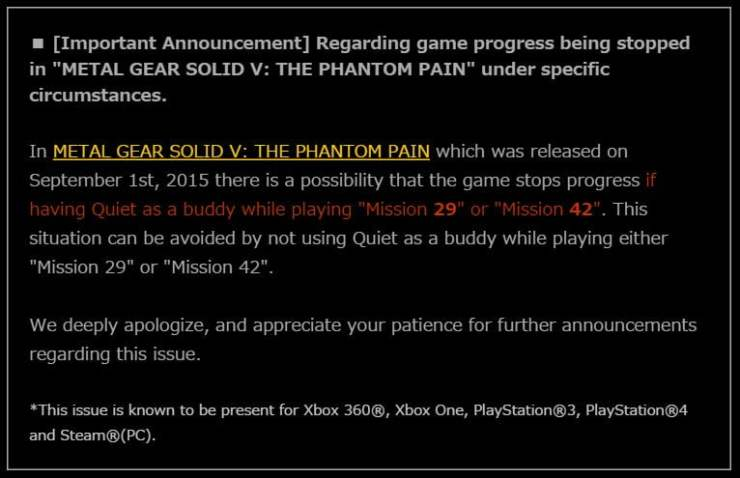 MGSV game breaking bug announcement