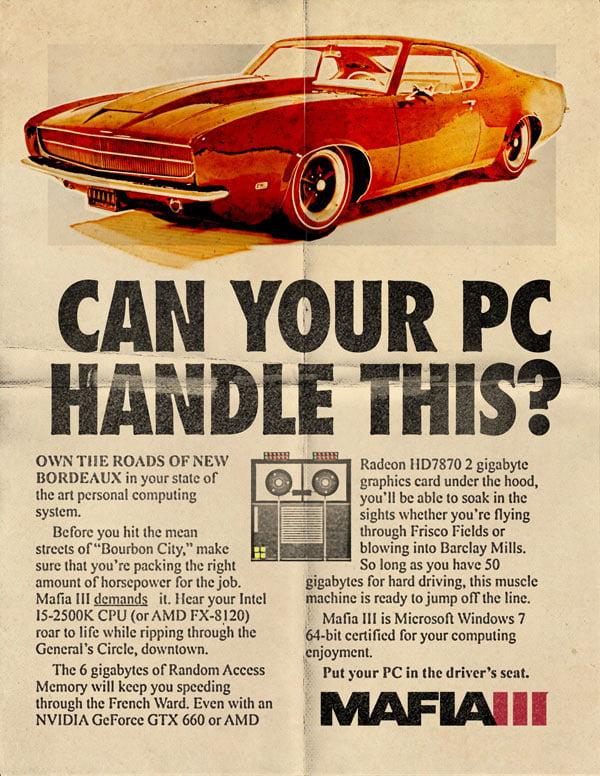 Mafia III - PC requirements poster