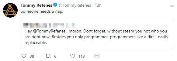 Tommy Refenes Epic Store tweet