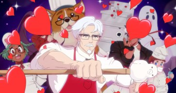 KFC branded dating sim chicken-topped pimp cane