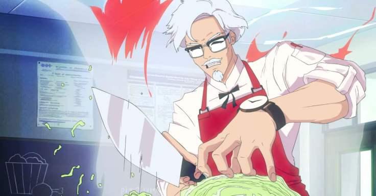KFC branded dating sim chopping lettuce