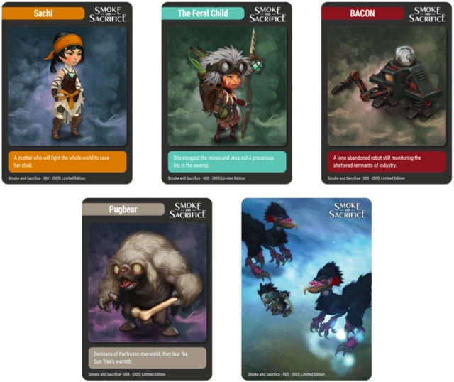 Smoke and Sacrifice trading cards