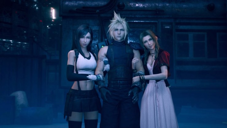 final fantasy vii remake tifa cloud aerith linking arms