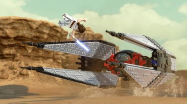 Lego Star Wars: The Skywalker Saga - Rey and a TIE Fighter