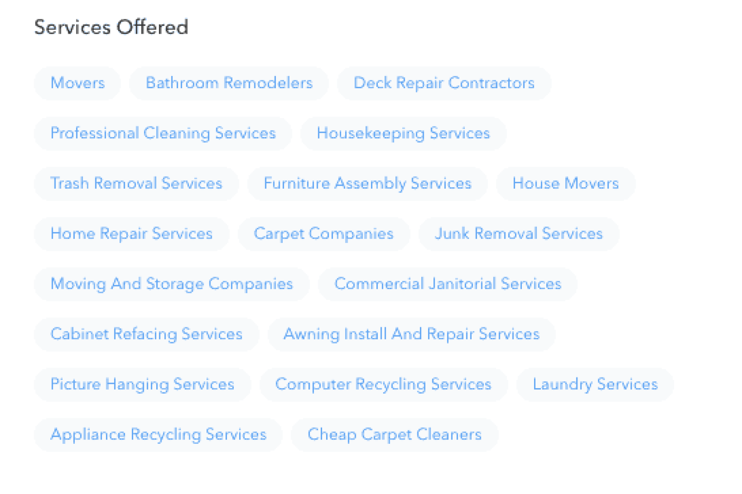 Services on your TT profile