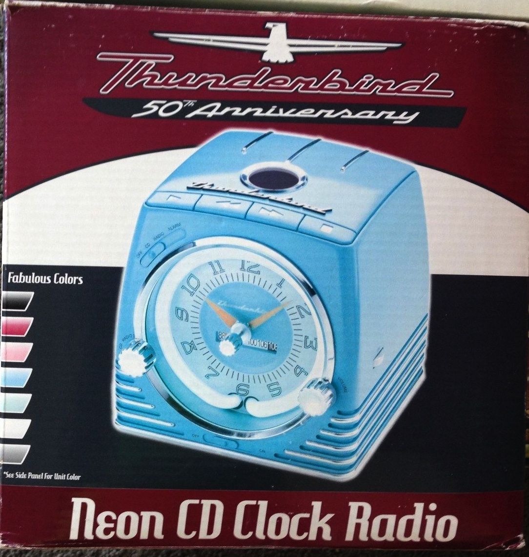 thunderbird neon clock radio cd player combo. Black Bedroom Furniture Sets. Home Design Ideas