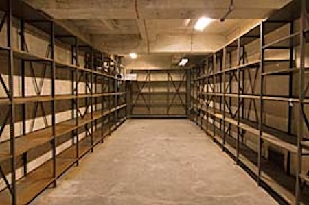 empty warehouse shelves