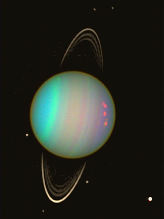 Uranus with a few of its moons