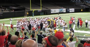 South Alabama celebrates their 41-39 win over Tulane on Saturday, September 7, 2013 in the Superdome.