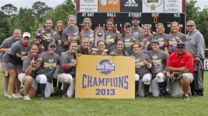 The 2013 South Alabama Softball Team earned their second consecutive SBC Tournament title after defeated WKU 2-0 on Saturday, May 11, 2013 | sunbeltsports.org