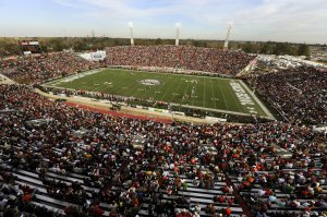 Ladd-Peebles Stadium for the 2011 Senior Bowl. Their rented video replay board is visible in the corner of the endzone. A similar setup is expected for the 2013 South Alabama football season. | Photo credit AL.com John David Mercer