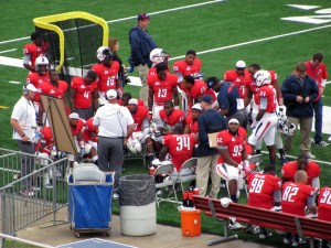 South Alabama first-year defensive coordinator Kevin Sherrer talks with the defense on the sidelines during the Jags game against Kent State.