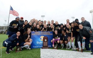 The Jaguar Soccer team earned their third-consecutive Sun Belt Conference Tournament Championship and will host LSU in the first round of the NCAA Tournament, the first time in Jag and Sun Belt Conference history. | Photo credit: Sun Belt Conference sunbeltsports.org