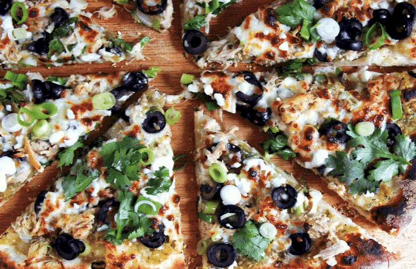 Salsa Verde Chicken Pizza
