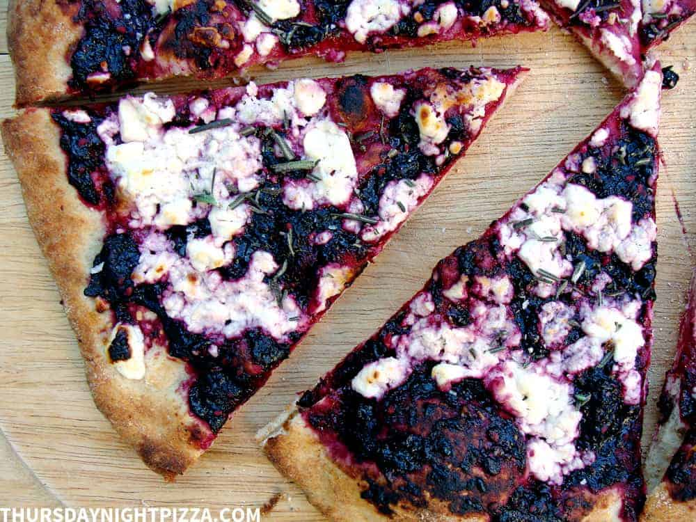 Blackberry Pizza with Rosemary and Feta Cheese