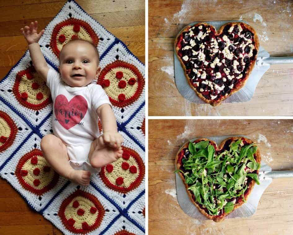 heart beet pizza collage