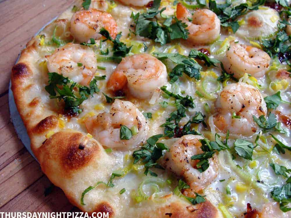 Coconut Shrimp Pizza, close
