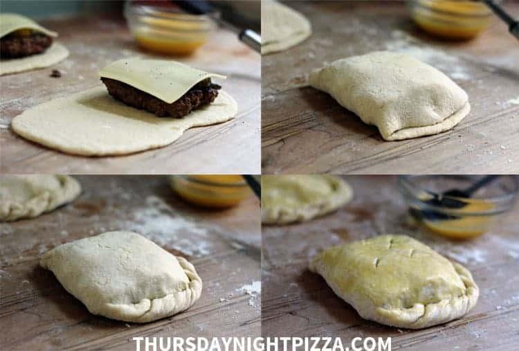 Cheeseburger Calzones process