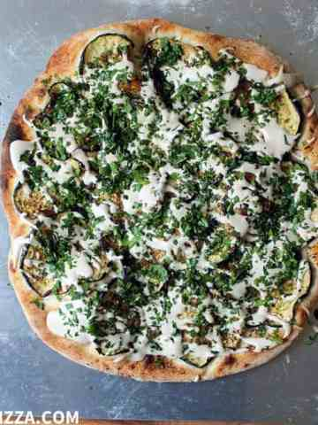 Za'atar Eggplant Pizza with Tahini Sauce