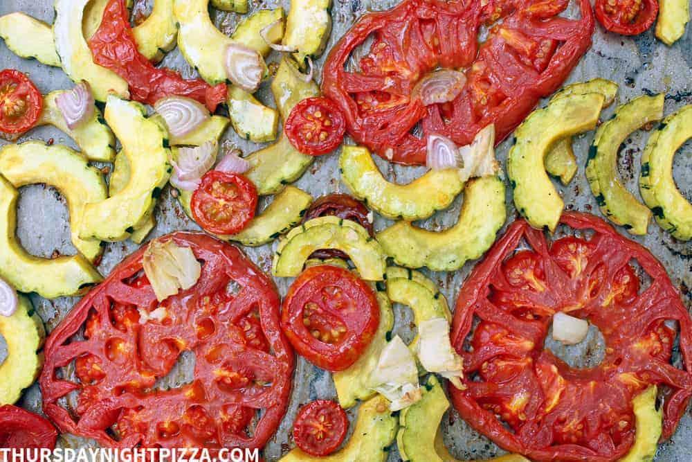 Roasted Tomato and Delicata Squash Pizza