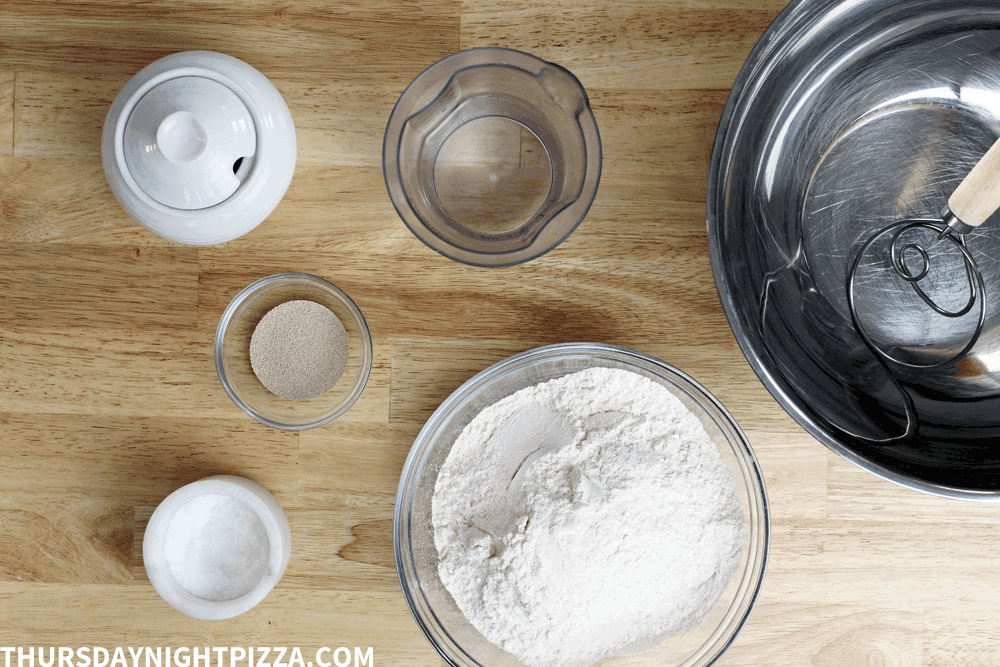 1-Hour Pizza Dough ingredients