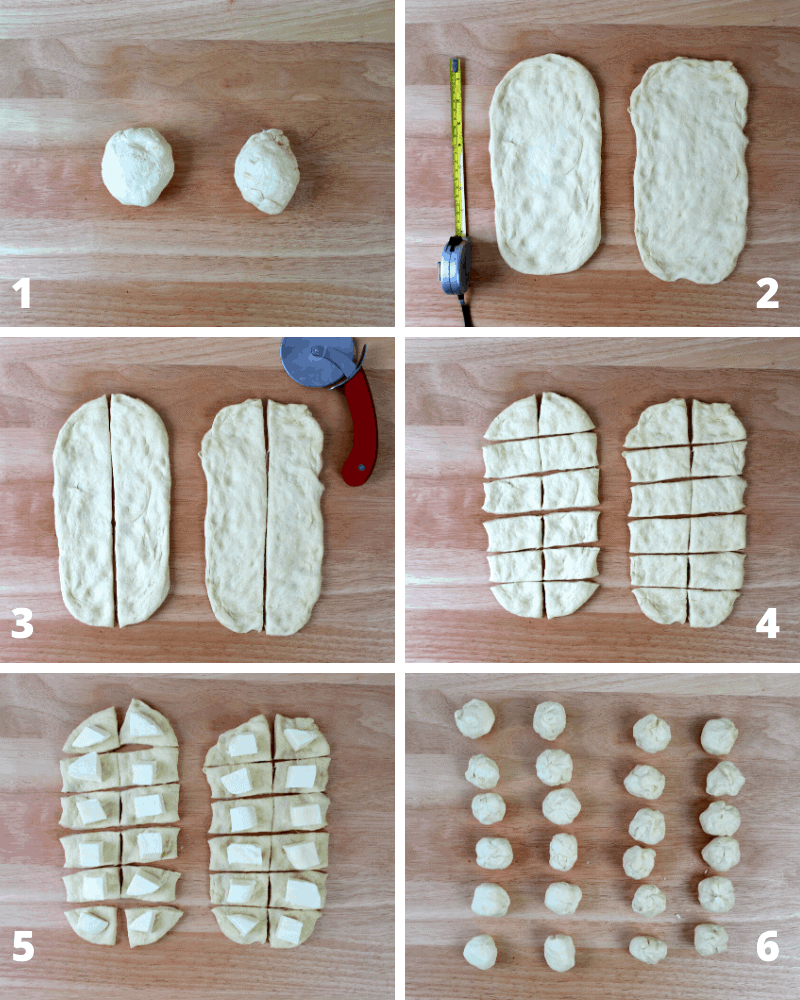How to stuff pizza dough balls for Christmas Tree Pizza Pull-Apart Bread