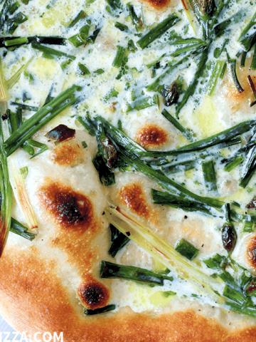 Spring Allium Pizza, close up