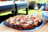 Tomato and Peach Pizza with Herbed White Sauce