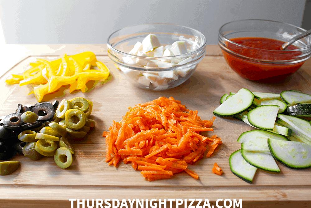 Healthy Vegetarian Pizza ingredients