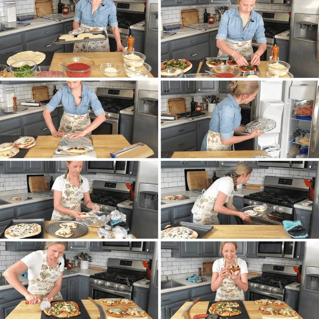 homemade frozen pizza meal prep process