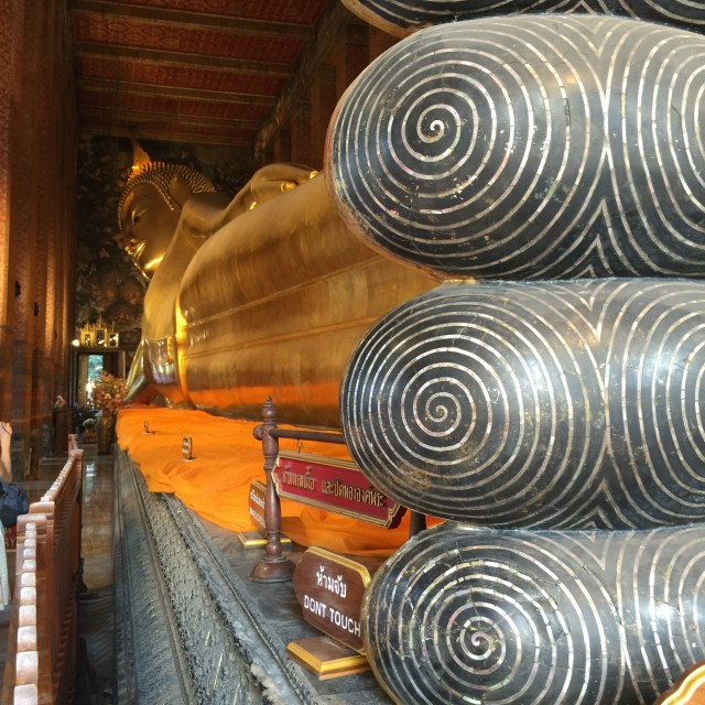 Trying my best to capture the full length view of the Reclining Buddha
