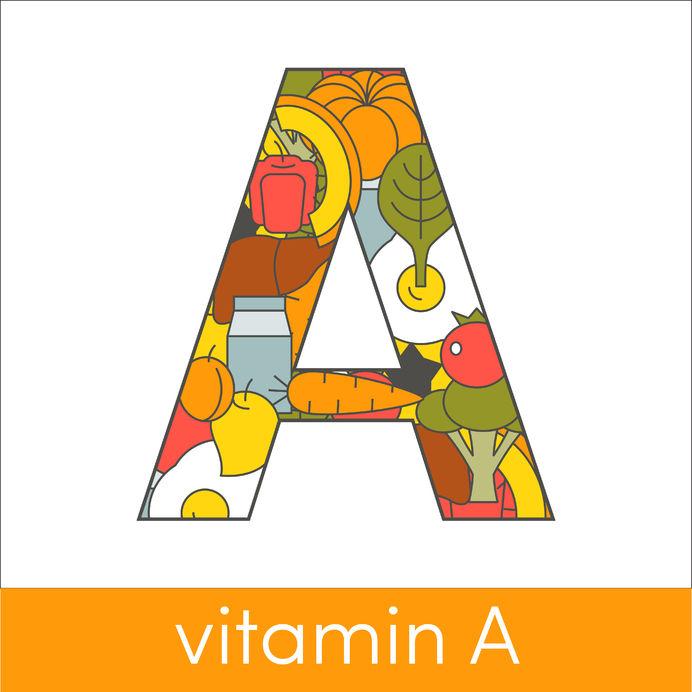 letter a symbolizing vitamin a concept