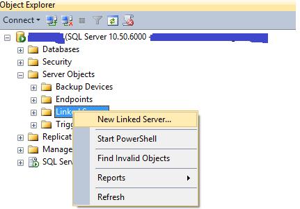 Criando um linked server do SQL Server para o Oracle