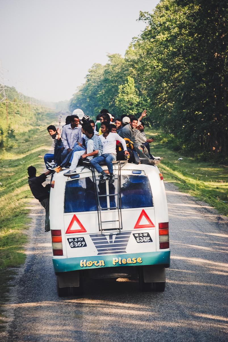 an overload minivan in nepal